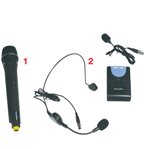 Complete with wireless hand-held mic, headset & lapel mic with bodypack transmitter