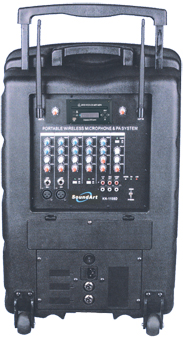 Battery powered 200w PA with two wireless microphones PXA420